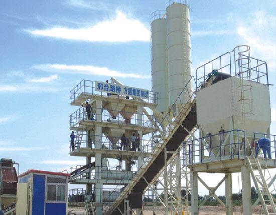 LWBZ500连续式稳定土混凝土搅拌站—邢台路桥七里河工地